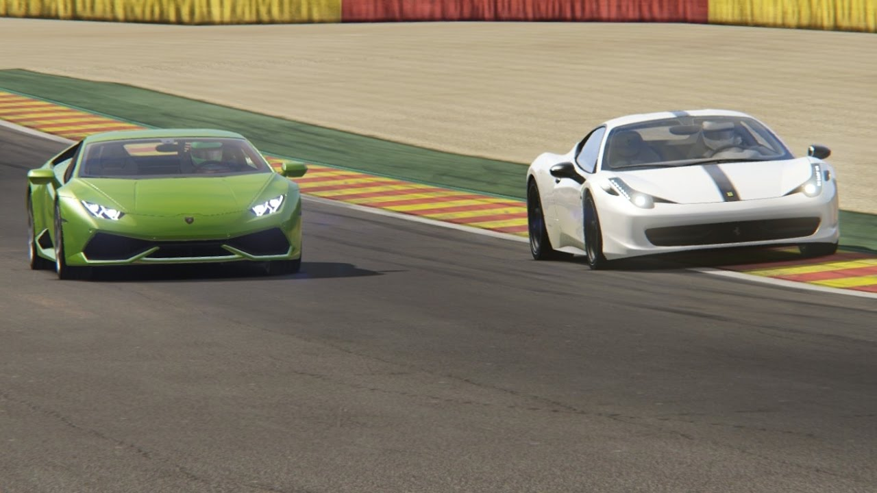 battle lamborghini huracan vs ferrari 458 italia at spa. Black Bedroom Furniture Sets. Home Design Ideas