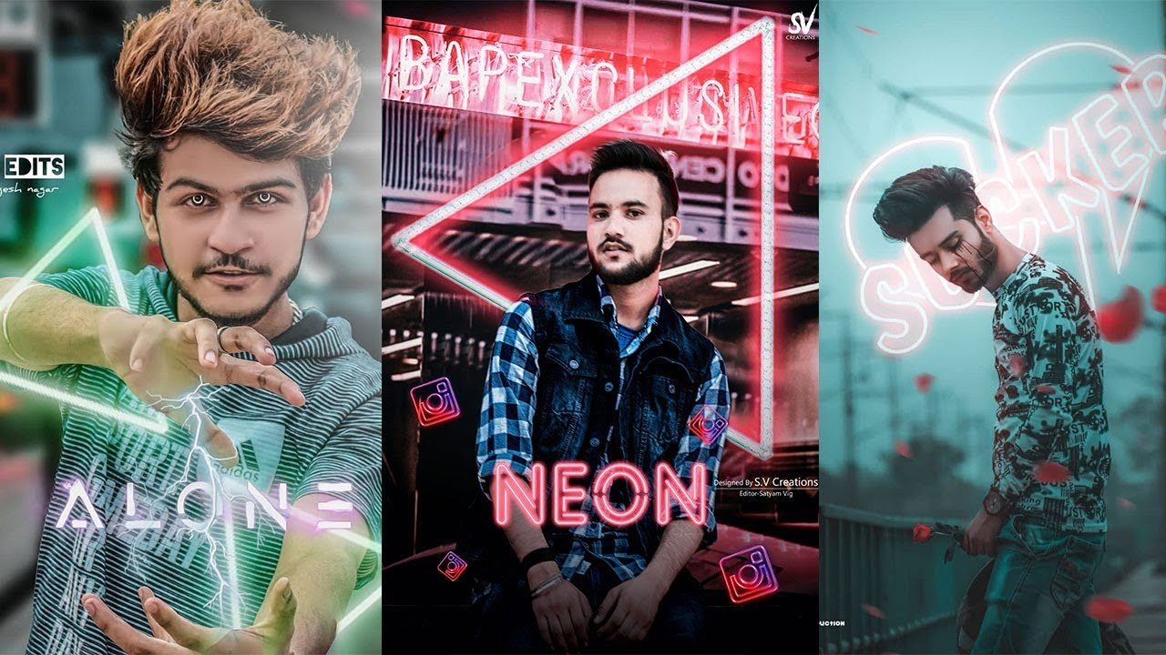 Glowing Neon Triangle effect Picsart Editing |Neon King Picsart Editing|  Neon Effect Png Background