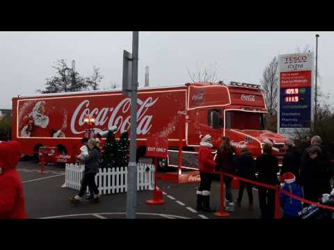 St Helens Merseyside  coca cola truck