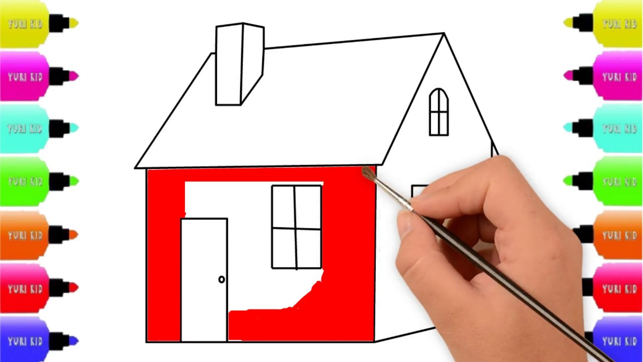 Drawing House Easy for Learning Colors for Kids,Coloring Pages ...