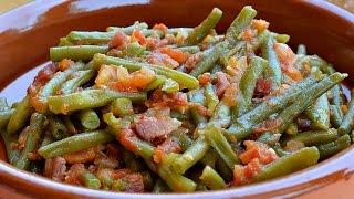 Judias verdes con tomate y jamón