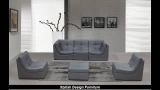Stylish Design Furniture - 207 Modern Grey Leather Sectional Sofa