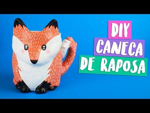DIY: CANECA CUSTOMIZADA! Raposa Kawaii / FOX MUG! Por Isabelle Verona