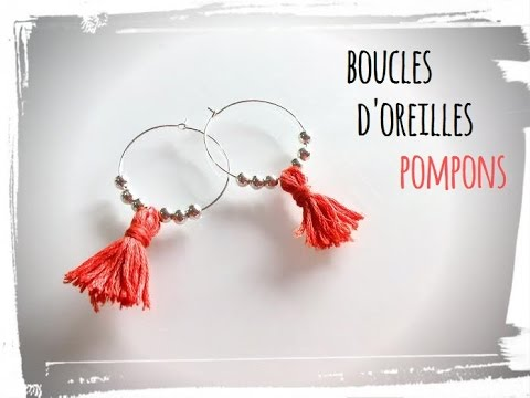 diy boucles d 39 oreilles pompons youtube. Black Bedroom Furniture Sets. Home Design Ideas