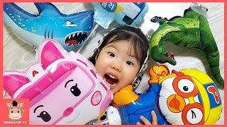 로보카 폴리 상어가족 장난감 풍선 장난감 놀이 ♡ 뽀로로 장난감친구들 어린이동요 놀이 Finger Family Kids Play Toys | 말이야와아이들 MariAndKids