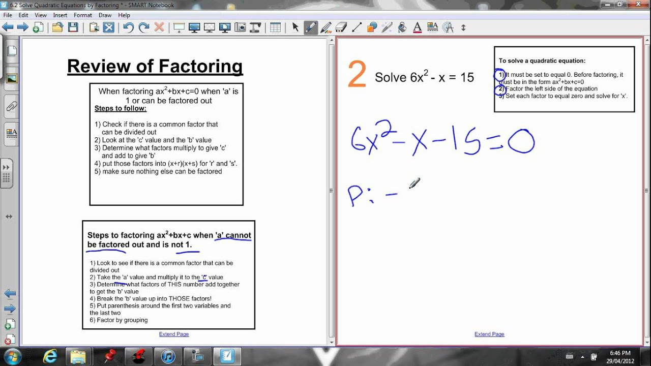 hight resolution of jensenmath.ca   free online math courses - 6.2 solve by factoring