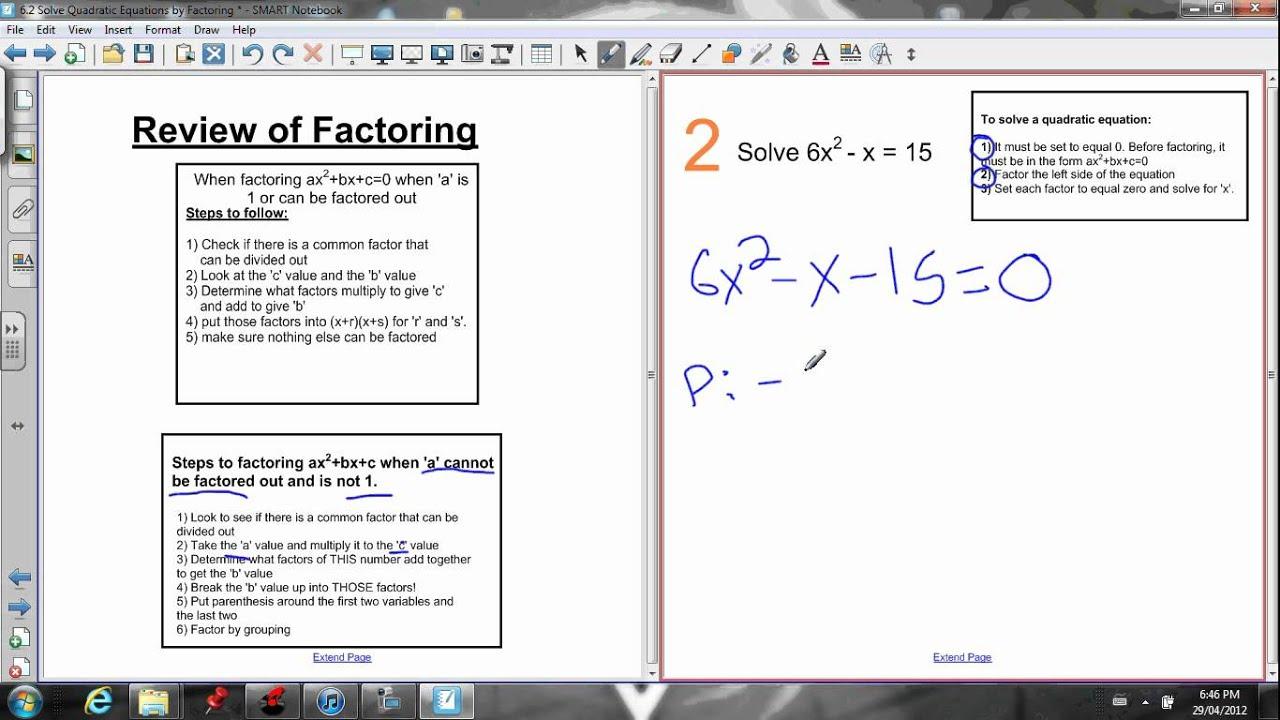 jensenmath.ca   free online math courses - 6.2 solve by factoring [ 720 x 1280 Pixel ]