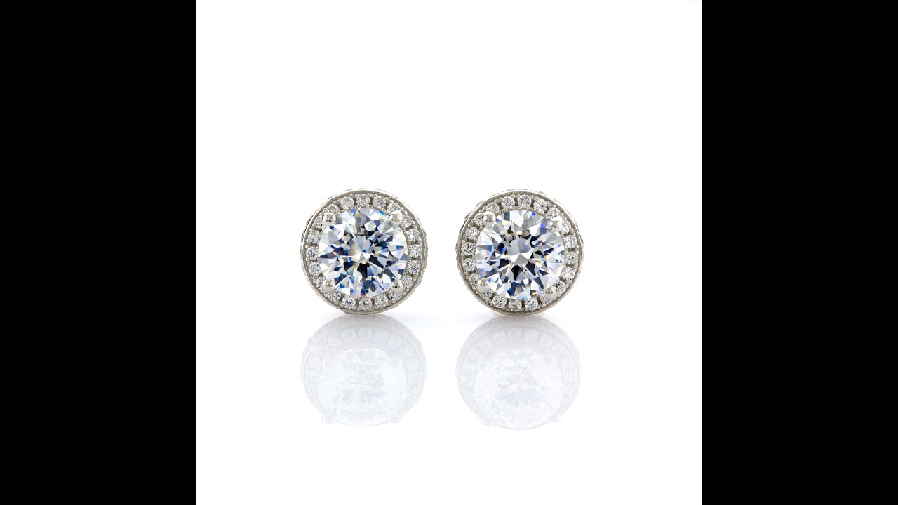 moissanite halo earrings gold diamond white mo cushion and pid