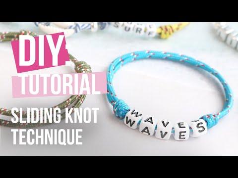 Confection de bijoux : Technique du « nœud coulissant » avec du cordelette style marin ♡ DIY