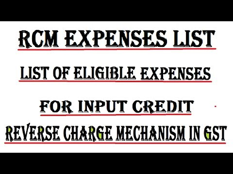 Reverse Charge on Expenses under GST with input credit