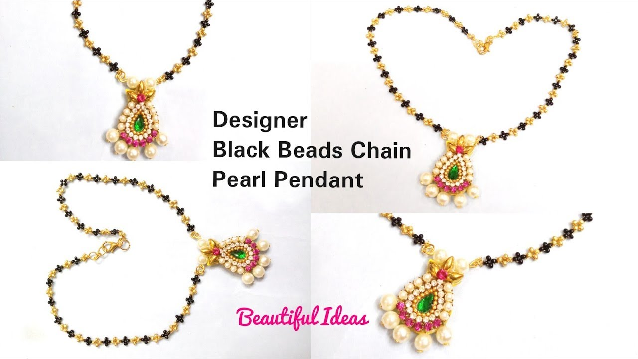 How to Make Black Beads Chains Latest Design at Home/ Nallapusala ...
