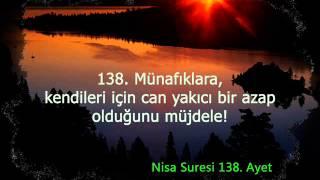 99-4 Nisa suresi Türkçe meal 135, 136, 137, 138, 139 ve 140