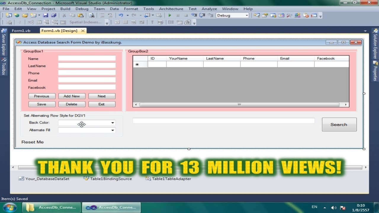 Visual Basic  Net : Search in Access Database - DataGridView BindingSource  Filter Part 1/2