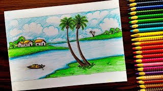 How to draw a Village scenery for kids and beginners with Colour Pencil step by step