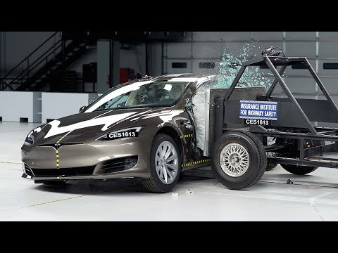 2016 Tesla Model S Side IIHS Crash Test
