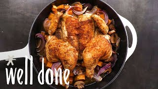 "Chicken ""Under A Brick"" : Your Quick Fix To Searing A Whole Chicken 