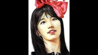 """수지 그림그리기(수채화)-미쓰에이 수지 그림과정샷/drawing of """" Suzy-water col…"""