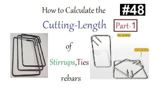how to calculate the stirrup and tie re bars cutting length in urdu hindi