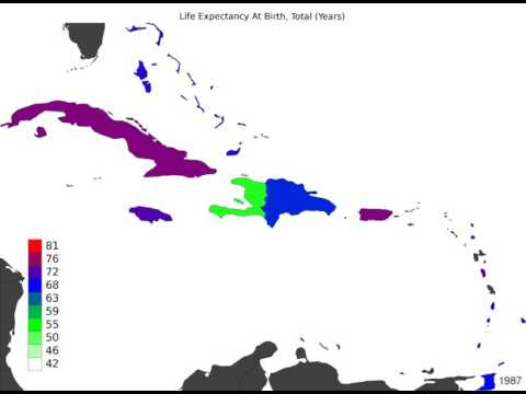 Caribbean - Life Expectancy At Birth, Total - Time Lapse