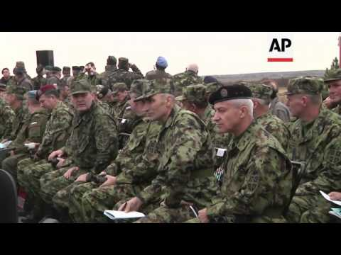 Serbian and Russian troops take part in joint military exercises