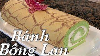 Hướng dẫn cách làm bánh bông lan vị lá dứa, Công thức mở Tiệm - Pandan Swiss Roll