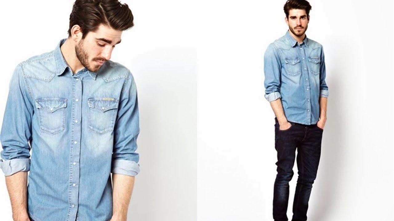 Resultado de imagem para camisa jeans homens