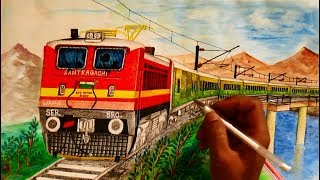 Duronto Express with WAP4 on bridge - Sketching || INDIAN RAILWAYS||