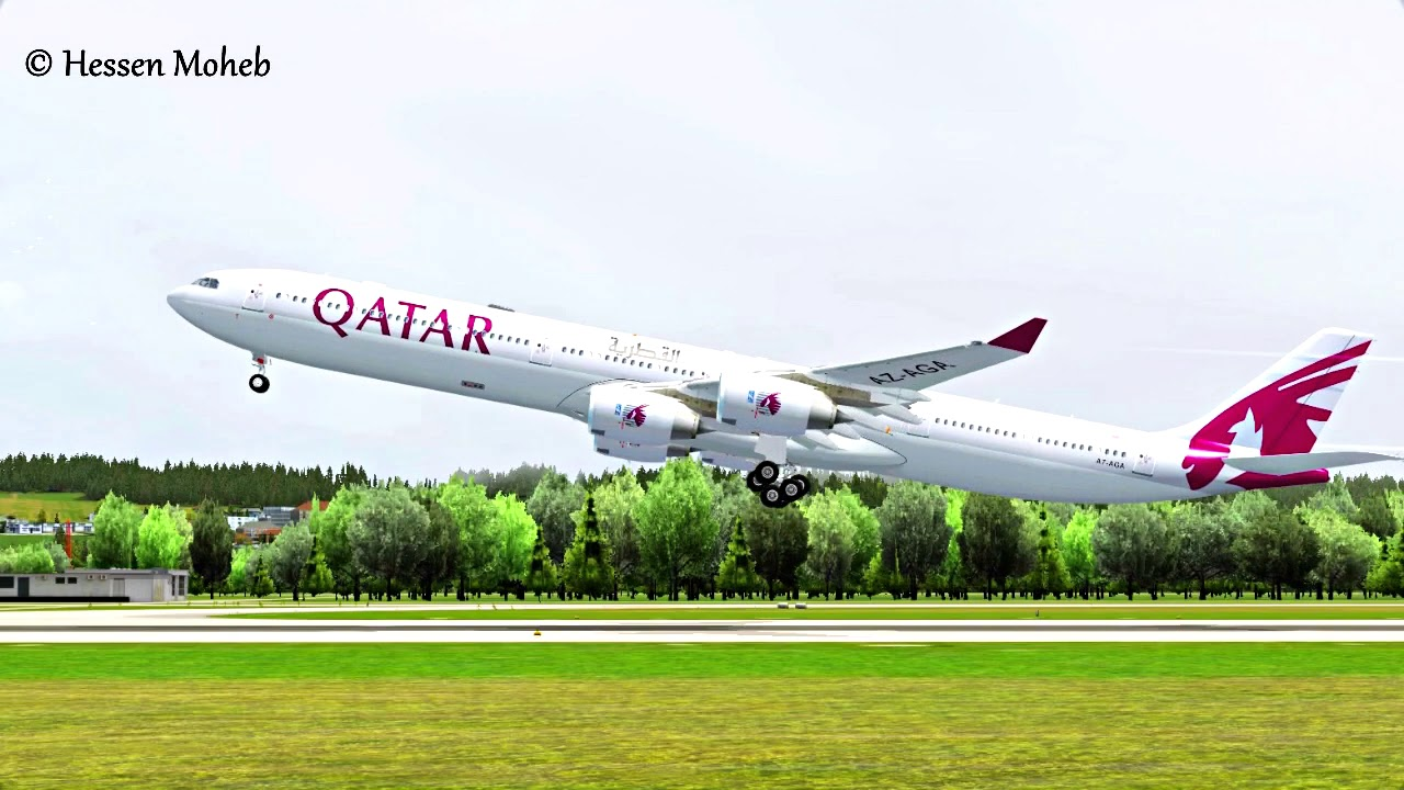 FSX Qatar Airbus A340 Takeoff From Zurich