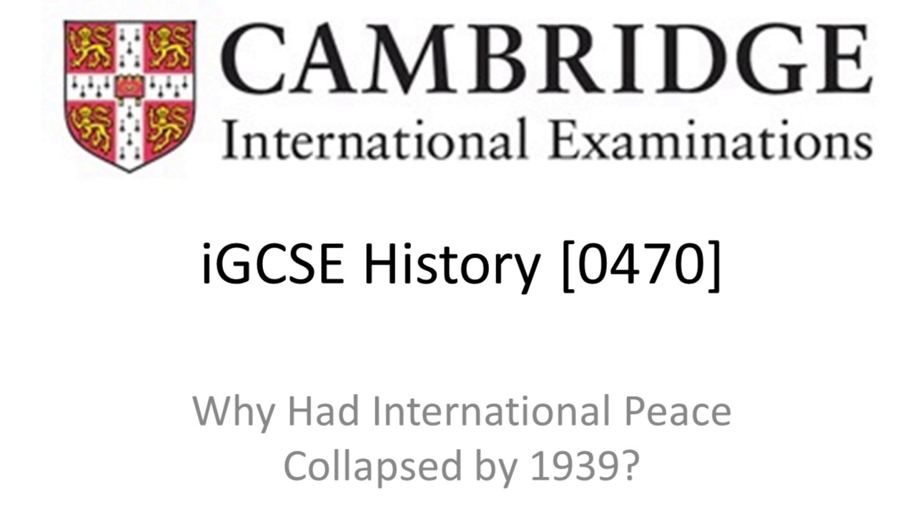 why had international peace collapsed by 1939 pdf