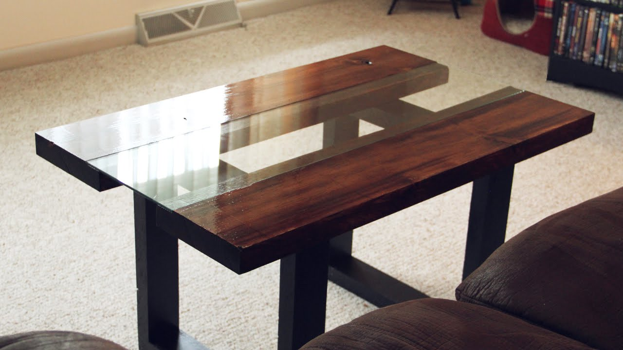 Glass & Wood Coffee Table with Faux Metal Legs - YouTube