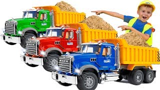 Excavator, Truck, Tractor and Dump Trucks #BRUDER. Construction Toy Vehicles for kids