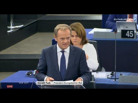 EU-Parlament: Statements von u.a. Donald Tusk zum Treffen der Staats- und Regierungschefs