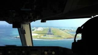 Repeat youtube video Landing 767 Flightdeck view male (MLE) airport