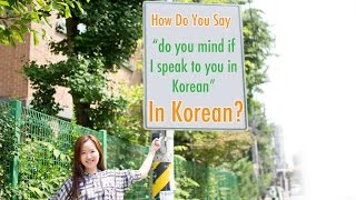 "How Do You Say ""Do you mind if I speak to you in Korean?"" In Korean?"