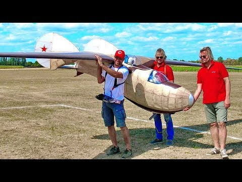STUNNING GIGANTIC XXXL BIGGEST RC SCALE 1:2 MODEL GLIDER BELJAJEW BP-3 FLIGHT DEMONSTRATION