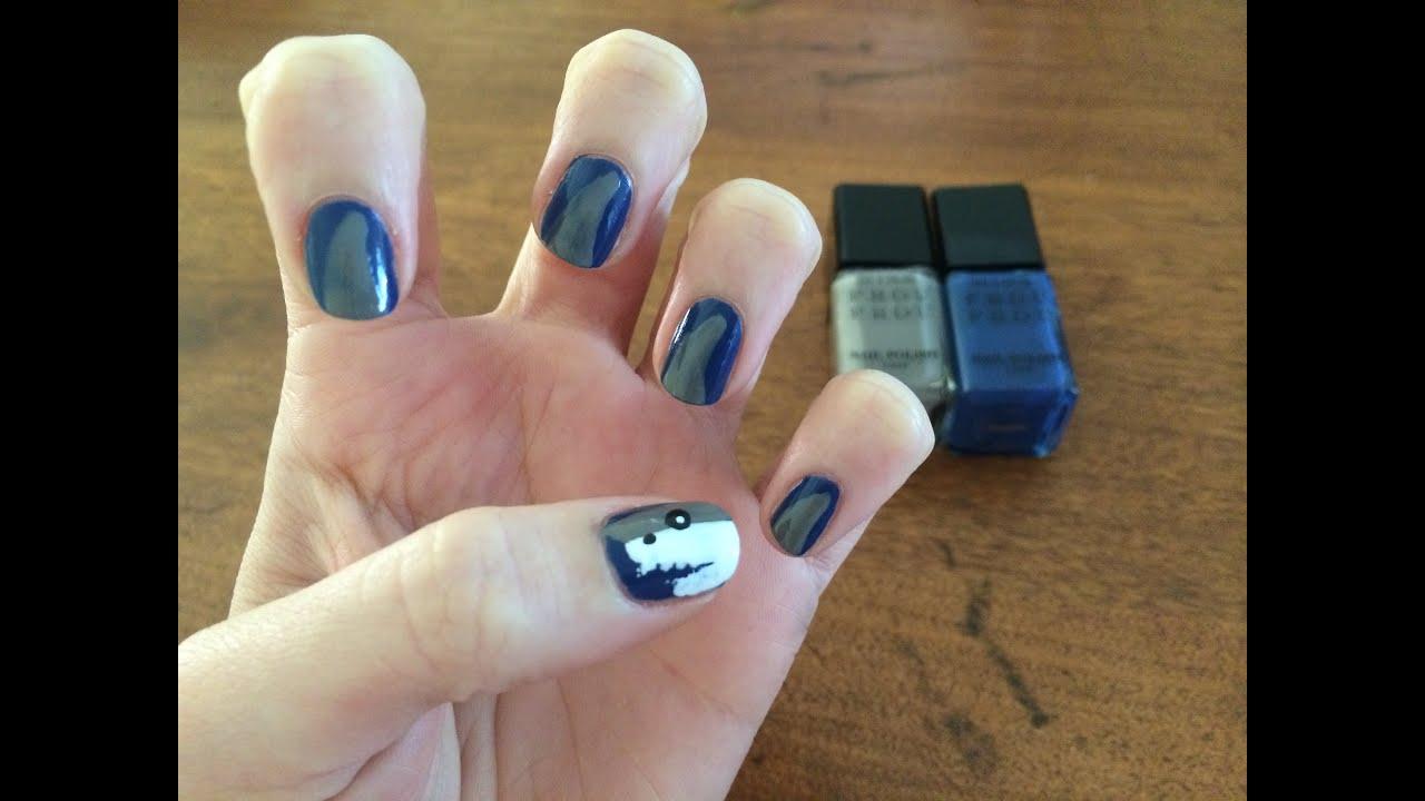 How To Create Nail Art For Shark Week - YouTube