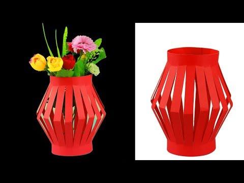How To Make Paper Flower Vase Easy|Home Decorating Idea Handmade|Easy Paper Crafts(Paper Basket)