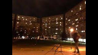 Worlds Biggest Crackhouse building at night