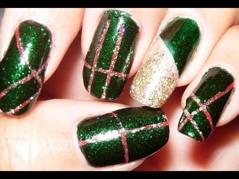 Glittery Dark green with Red detail nail design! - Glittery Dark Green With Red Detail Nail Design! - YouTube