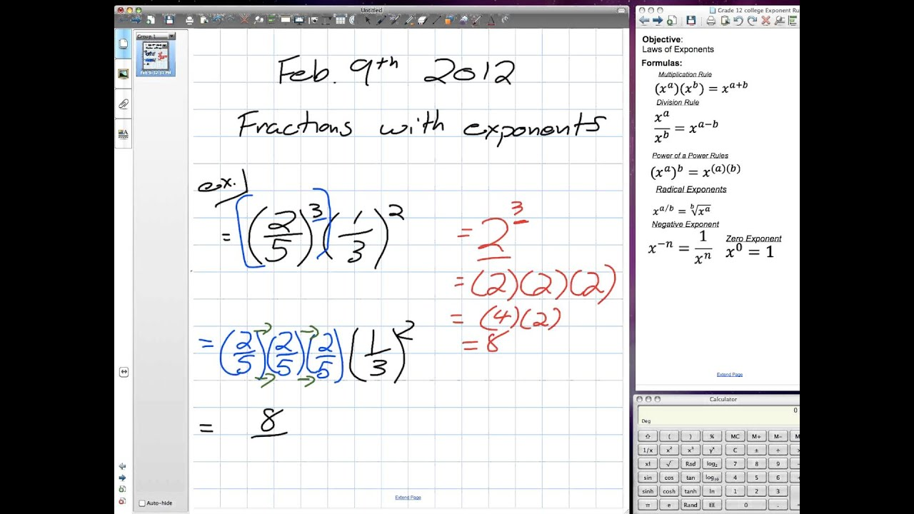 Fractions With Exponents Grade 11 Mixed Pre Req Skills 02 09 12