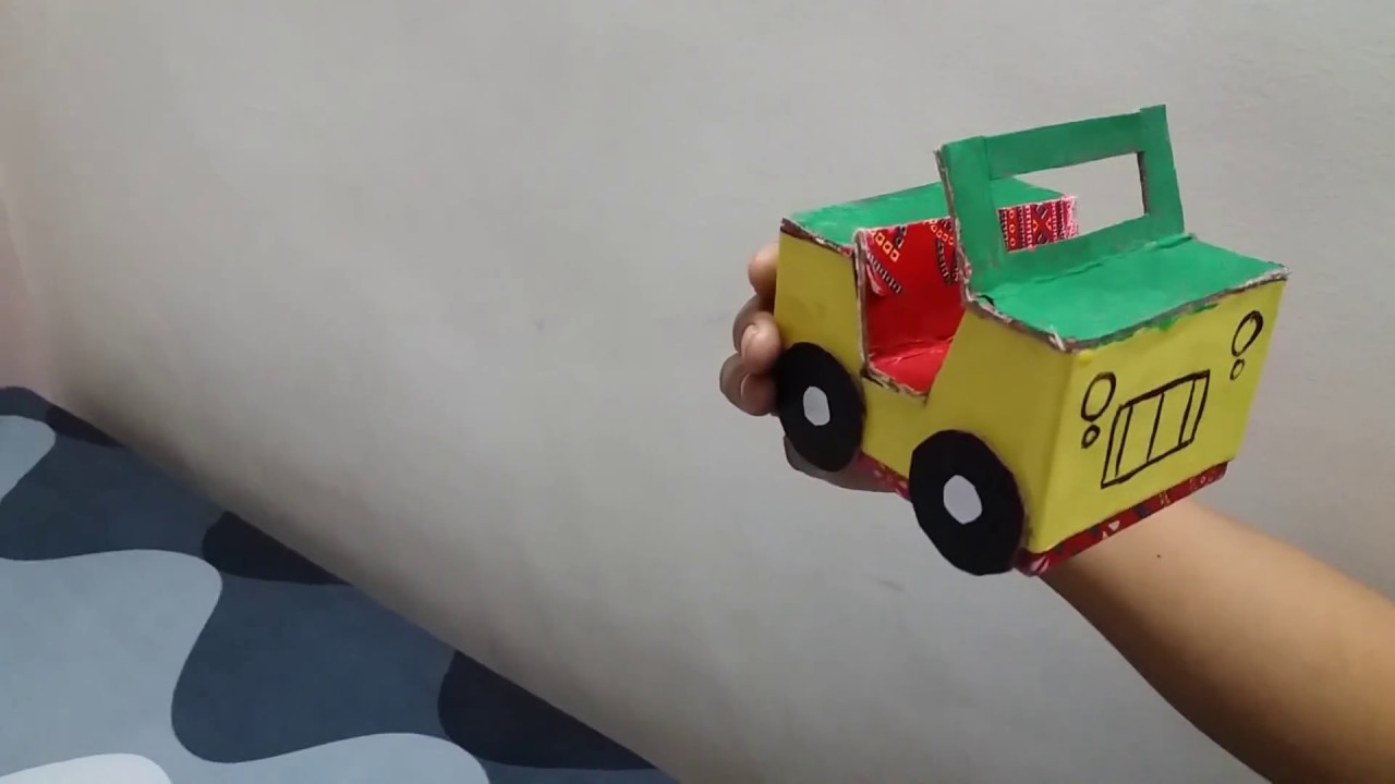 Best out of waste for school children cardboard toy jeep for Best out of waste at home