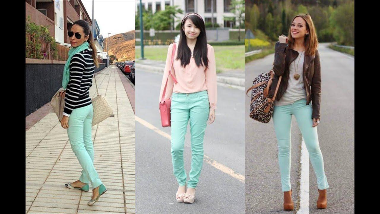Outfit Con Blusa Color Verde Menta Novocom Top