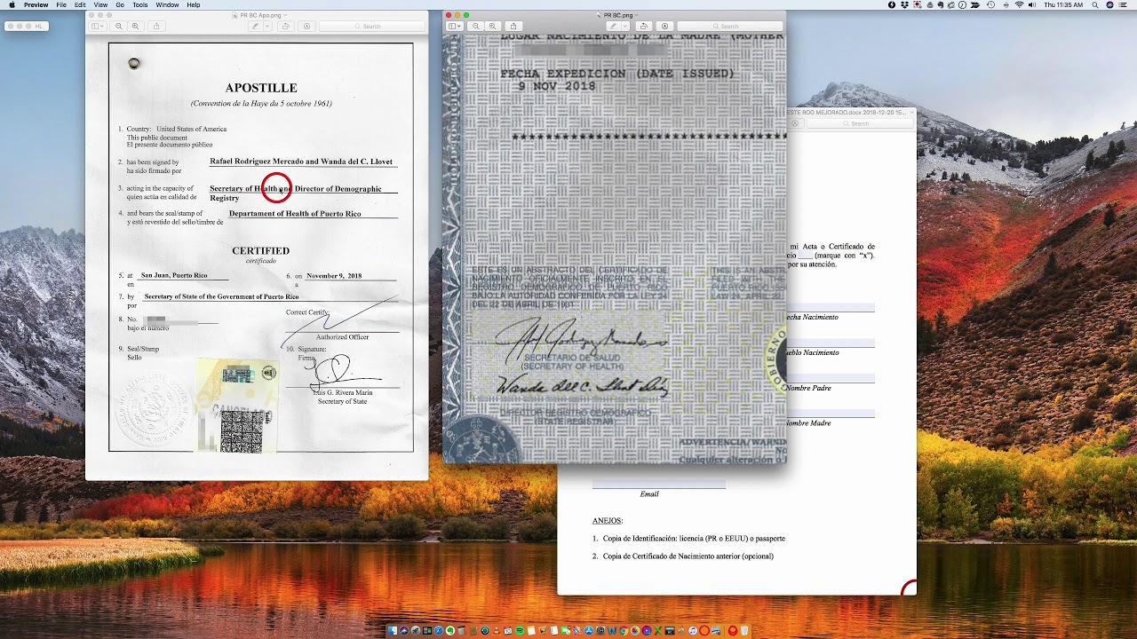 puerto rico apostille birth certificate