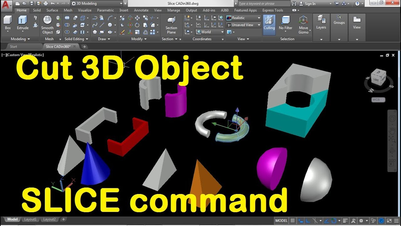 How To Cut A 3d Object In Autocad Using Slice Command Youtube