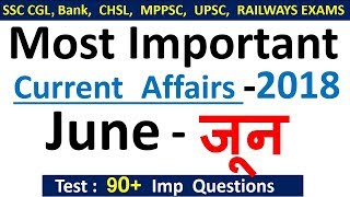Current affairs : June 2018 | Important current affairs 2018 |  latest current affairs Quiz