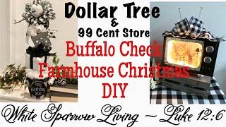 DIY DOLLAR TREE BUFFALO CHECK FARMHOUSE CHRISTMAS DECOR