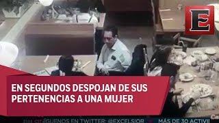 Exhiben a carteristas robando en restaurante de Monterrey