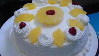Pineapple Cream Cake Recipe Without Oven - Pine Apple Cake Home Made - How to Whip Cream