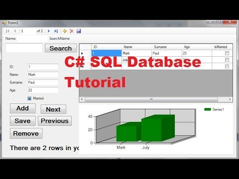 C# SQL Database Tutorial 6: How to use Chart /Graph with local database in Visual C#