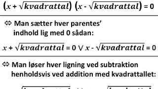 x i anden = kvadrattal